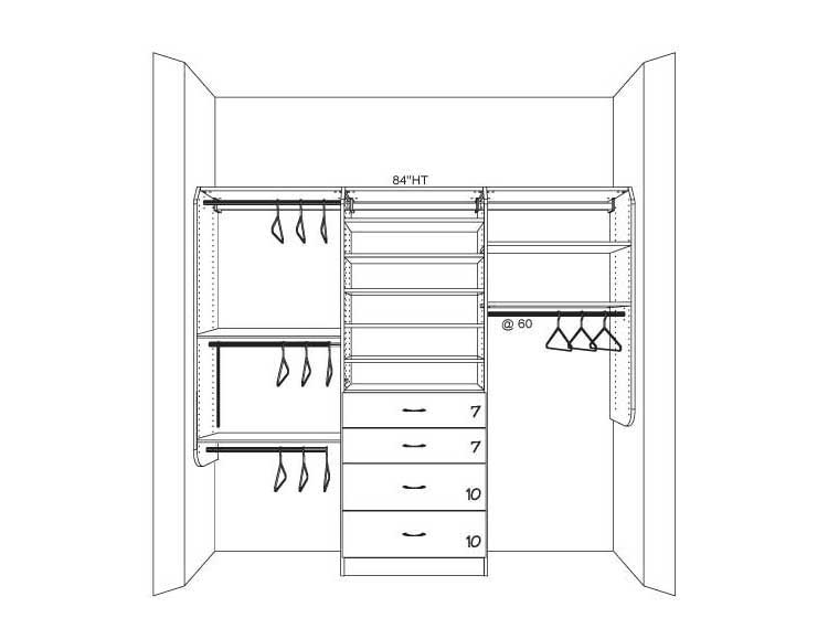 custom closet system plans from closets.com with built ins