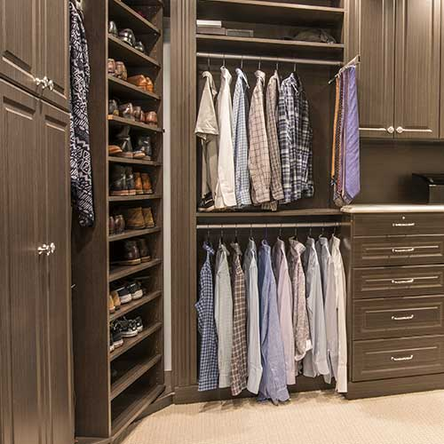 closet organizers for corner of closet include a rotating shoe organizer