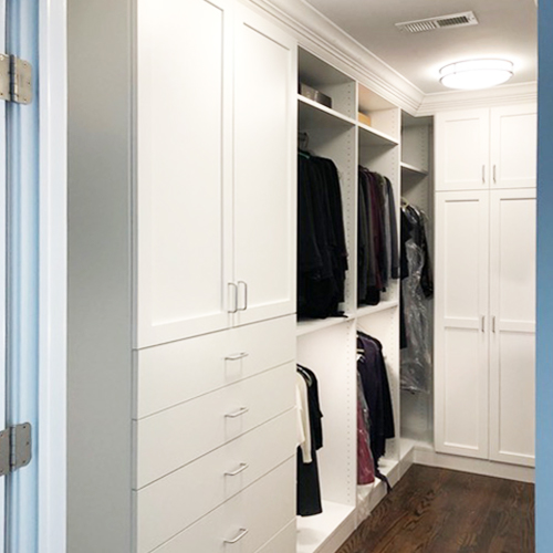 walk-in closet with cabinets
