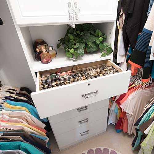 closet with jewelry drawer