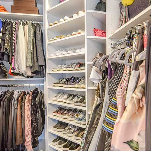 custom closet with 360 Organizer rotating shoe rack